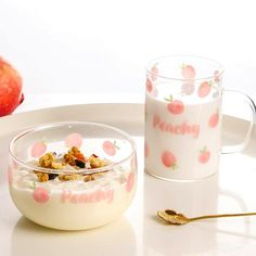 Pink Fruit, Cute Alphabet, Cute Kitchen, Dorm Kitchen, Glass Coffee Mugs, Cute Cups, Sweet Peach, Aesthetic Food, Cute Food
