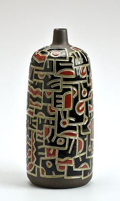 Doodle Bottle - Red and Black: Boyan Moskov: Ceramic Bottle - Artful Home