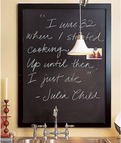 Julia Childs quote on blackboard