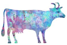 Blue Pink Lavender Cow Watercolor 11x14 Art by whimsicalgallery