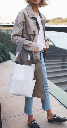 Casual outift : nude coat + top + white bag + jeans + loafers