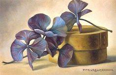 Stilleven met spanen doosje met gedroogde hortensia, 10 x 15 cm, olieverf op paneel