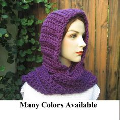 Crochet Hooded Scarf, Hoodie Scarf, Hooded Scarves, Scoodie Scarf, Hat Scarf by CeciliaAnnDesigns on Etsy https://www.etsy.com/listing/206754411/crochet-hooded-scarf-hoodie-scarf-hooded