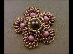 * Tutorial con perline: Fiore di pizzo, ciondolo con perle superduo swarov...