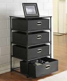 Another great find on #zulily! Black Four-Bin Storage Unit Set #zulilyfinds