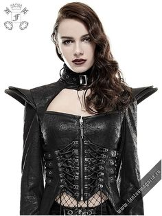 y-670 Blitzkrieg coat punk rave. Gothic Punk Queen coat. Futuristic Gothic Fetish style women's jacket is made of soft fabric which imitates the crackled leather. | Gothic, Steampunk, Metal, Punk, Lolita, Fetish fashion style e-shop. Punk Rave, RQ-BL, Fantasmagoria clothing brands