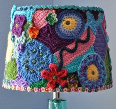 Freeform crochet lampshade.