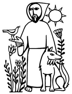 St. Francis of Assisi  I don't know who made this lovely line drawing...wish I could credit the artist.