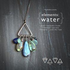 Elements: Water Alchemy Symbolism Sterling Silver by Mayahelena Wire Wrapped Jewelry, Wire Jewelry, Jewelery, Jewelry Necklaces, Rock Jewelry, Beaded Jewellery, Pretty Necklaces, Unique Necklaces, Beautiful Necklaces