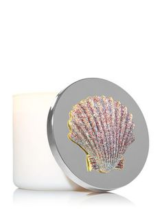 BATH BODY WORKS PURPLE GLITTER SPARKLY SEASHELL MAGNET LARGE 3 WICK CANDLE DECOR