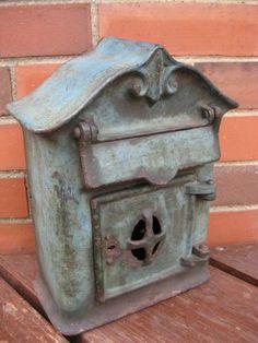 Antique Cast Iron Mailbox with Original Paint
