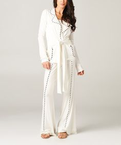 Love this Ivory Contrast-Piping Jacket & Pants - Women by A La Tzarina on #zulily! #zulilyfinds
