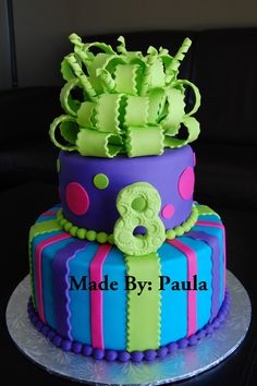 Funky & 8! - A girl who loves LIME GREEN and is in love with the Cake Boss Show! The cake is going to be a big surprise for her 8th birthday! Her 1st fondant cake! Can't wait!