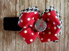 ALABAMA hair bow headband Crimson Tide Roll by CicisBowBoutique