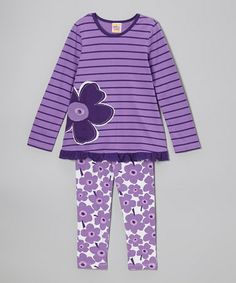 Love this Plum Ruffle Tunic & Leggings - Infant & Toddler on #zulily! #zulilyfinds