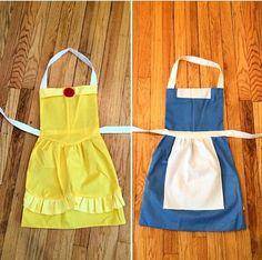 Reversible Belle apron by WishesAnStitches on Etsy - Diy Crafts Ideas Projects Beauty And The Beast Costume, Beauty And The Beast Party, Belle Beauty And The Beast, Kids Costumes Girls, Halloween Costumes For Kids, Disney Aprons, Dress Up Aprons, Dress Up Storage, Kids Dress Up