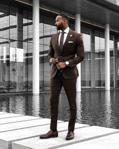 Brown Wedding Suits 2019 Slim Fit Bridegroom Tuxedos For Men 3 Pieces Groomsmen Suit Formal Business Tuxedos (Jacket+Pants+Vest +Tie) Smart Casual Work Outfit, Business Casual Outfits For Work, Work Outfits, Business Casual Black Men, Fall Outfits, Business Men, Groomsmen Suits, Men's Suits, Party Suits