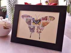 Postage Stamp Butterfly – Framed Stamp Art (1) by Bulbjerg on Etsy