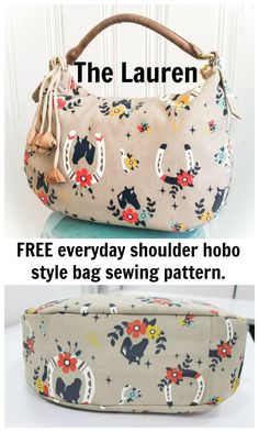 FREE everyday shoulder hobo style bag sewing pattern.