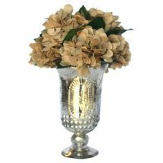 "Bring a touch of natural style to your decor with this lovely preserved hydrangea arrangement, nestled in a charming pedestal pot.   Product: Preserved floral arrangementConstruction Material: Preserved greeneryColor: NaturalFeatures:  Includes faux hydrangeasIncludes pedestal potDimensions: 8.5"" H x 7"" DiameterCleaning and Care: Occasional dust"