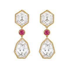 "Verdura ""Byzantine"" White Topaz Drop Earrings with Pink Tourmaline"