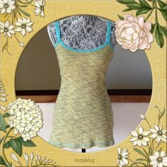 Free People boho Lace Trim Tank Sz M Fab boho tank by free people.  Body is olive with teal lace trim.  Size medium. Free People Tops Tank Tops