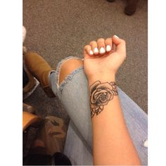 Something like this on wrist, but with dogwoods.