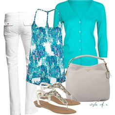 Spring Outfit: Teal & White.