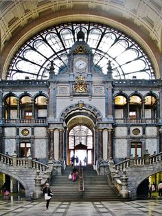 Antwerpen Central Station, Belgium - Another pretty train station. Living in Washington, DC and going to Union Station every day gave me an appreciation for train stations. I want to travel by train now. Places Around The World, Oh The Places You'll Go, Places To Travel, Places To Visit, Around The Worlds, Union Station, Central Station, Central Hall, Trains