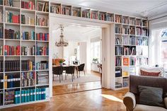 """I just really adore bookshelves. I am pretty sure every time the fiance asks what I want in my dream home the first thing I say is """"tons of bookshelves"""" Floor To Ceiling Bookshelves, Bookshelf Wall, Bookshelf Ideas, Wall Shelves, Fabric Bookshelf, Bookshelf Decorating, Unique Bookshelves, Rustic Bookshelf, Bookcase Headboard"""
