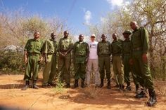 Mark Galley (middle), co-founder of Conservation Safaris, with the team of Rangers at Rukinga Sanctuary, part of the Tsavo Conservancy in Kenya. Head Ranger, Eric Sagwe, is far right.