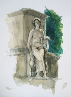 The Statue of the Arts, watercolor, 20cm x 30cm, by Matthew James Collins