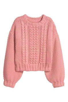 Short, pattern-knit jumper in a marled cotton blend with wide sleeves. Knitwear Fashion, H&m Fashion, Knit Fashion, Winter Fashion, Fashion Outfits, Winter Formal, Sweater Weather, Winter Outfits, Ideias Fashion