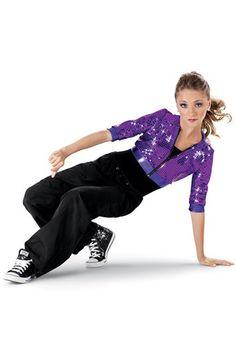 Weissman™   Crop Sequin Hoodie with Hip Hop Pants