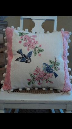 Pillow made from vintage linens and chenille