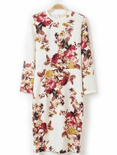 White Long Sleeve Vintage Floral Slim Dress pictures