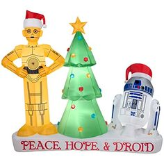 6 Foot Star Wars Droids R2D2 and C3PO Holiday Yard Inflatable -- Read more  at the image link.