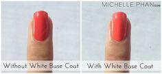 Use a white base coat, not a clear one, to get more vibrant nails.