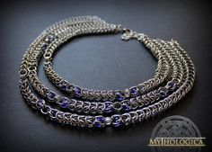 Stainless steel maille necklace with deep by Mythologicacreations #chainmaille