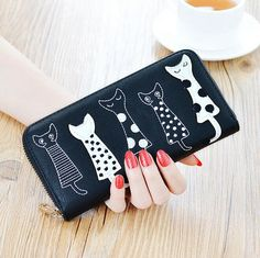 2017 Women Cartoon Cat Long Wallet Girls Frosted Animal Large Capacity Purse Handbag Embossed Card Holder Free Shipping P358