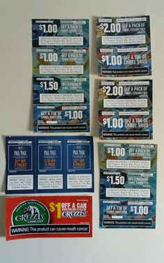 Cigarette & Smokeless Tobacco Coupons Camel Grizzly Pall Mall Lot of 15