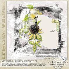 Art Works Layered Template 22 #dawninskip #scrapbookgraphics #artjournal #template #handmade #illustrations #artsy #artworkstemplates