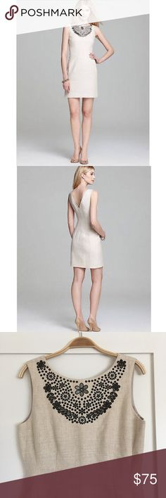 """Kate Spade New York Domino Dress in Oatmeal Neat embroidery ornaments the cutout bib of a boatneck dress with a timeless V-back. Features side zipper closure, side-seamed pockets and fully lined. 36 1/2"""" length. In excellent condition. kate spade Dresses Mini"""