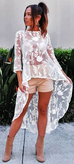 #summer #outfits  White Lace Oversized Top + Beige Short 👌