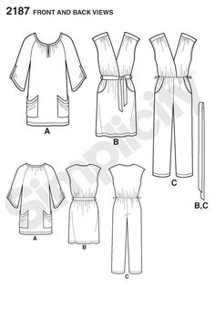 Simplicity pattern 2187: Misses' Sportswear dress, jumpsuit and tunic