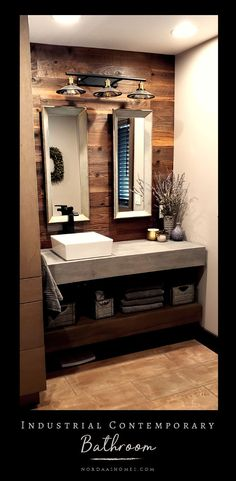 Here is a stunning example of industrial meets modern contemporary design styles!  - DriedDecor.com #nordaashomes #industrial #modern #bathroom #driedflowers #ideas #style #decor #farmhouse #shiplap #openshelving #vanity #halfbath #powderbath