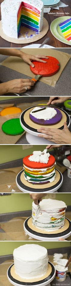 Rainbow Birthday Cake recipe recipes cake cakes food desert ingredients instructions desert recipes cake recipes colorful cakes rainbow cake party favors party food party ideas