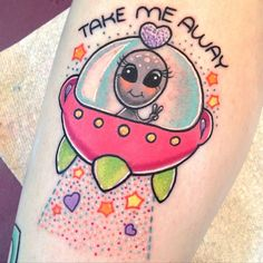 UFO and alien tattoo (Sam Whitehead). Girly Tattoos, Love Tattoos, Beautiful Tattoos, Body Art Tattoos, Small Tattoos, Kawaii Tattoos, Tatoos, Tattoo Art, Alien Tattoo