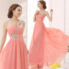 Elegant Brief Dress One Shoulder Cheap Coral Bridesmaids Dresses Long Wedding Party Dress 2015 New Simple Dress For Bridesmaids
