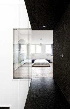 black and white interior space. minimalism